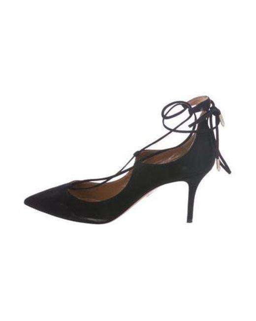 1ef7f64210a0 Aquazzura - Black Suede Pointed-toe Pumps - Lyst ...
