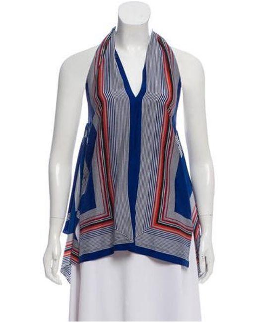 29f436b6202e1 Derek Lam - Blue Striped Halter Top - Lyst ...