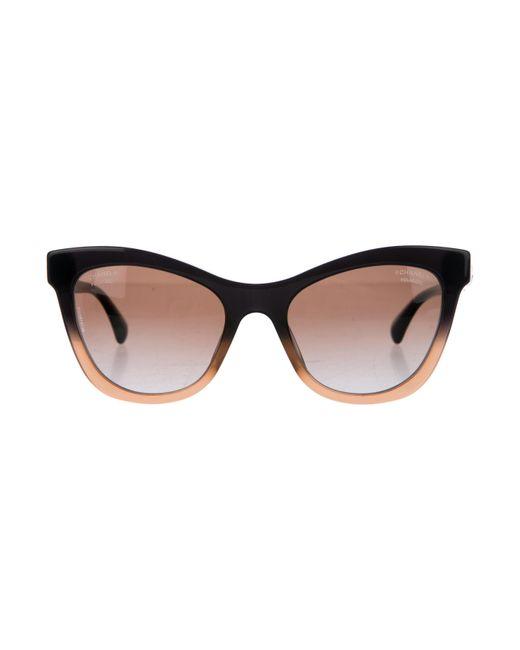 Chanel | Metallic Signature Cat-eye Sunglasses Black | Lyst