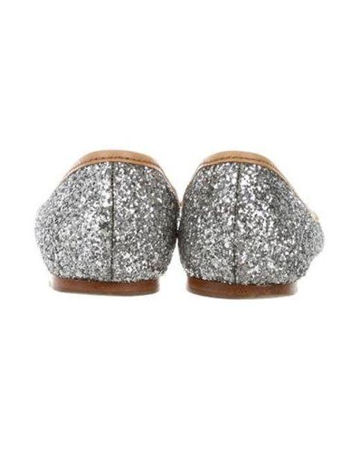 ccf253afa2c25 ... Miu Miu - Metallic Miu Jewel-embellished Glitter Flats Silver - Lyst
