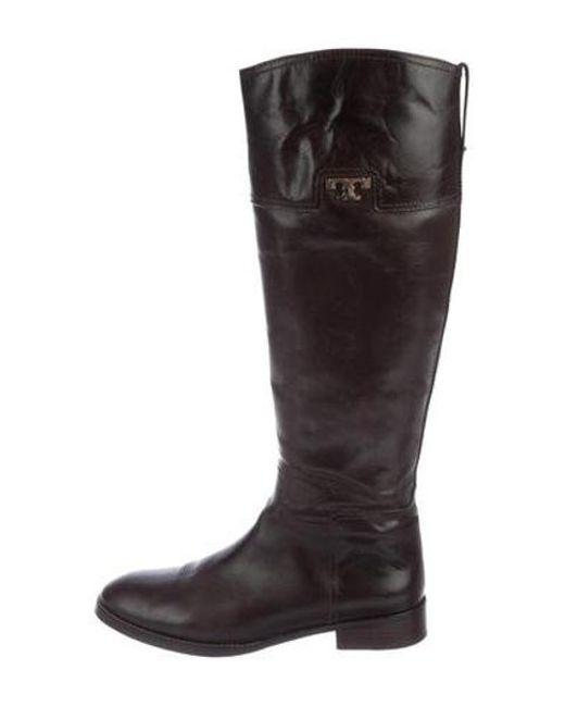 8cb68b88fa8 Tory Burch - Metallic Leather Knee-high Boots Gold - Lyst ...
