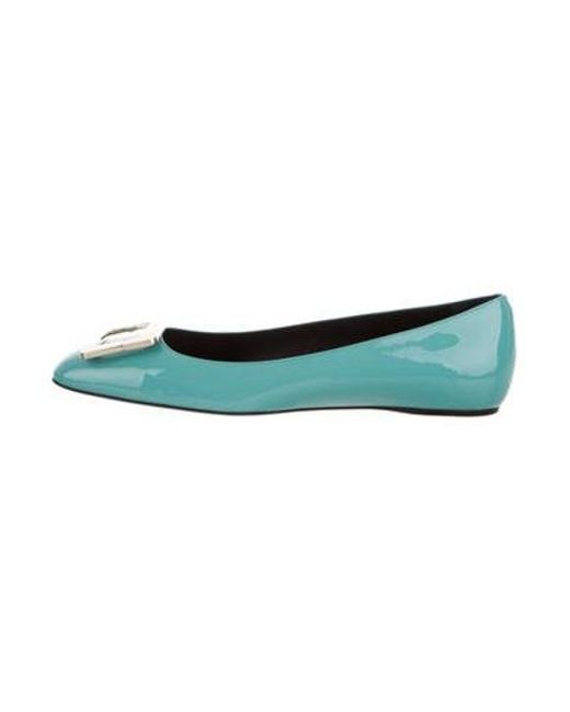 399151bddb7 Roger Vivier - Metallic Patent Leather Buckle Flats Blue - Lyst ...