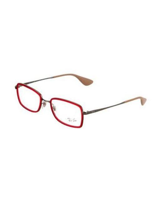 6429315c0b ... Ray-Ban - Metallic Matte Square Eyeglasses Red for Men - Lyst ...