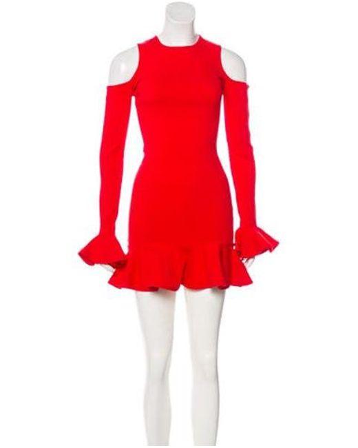 8ead50c8782 Michael Lo Sordo - Red Cold-shoulder Mini Dress - Lyst ...