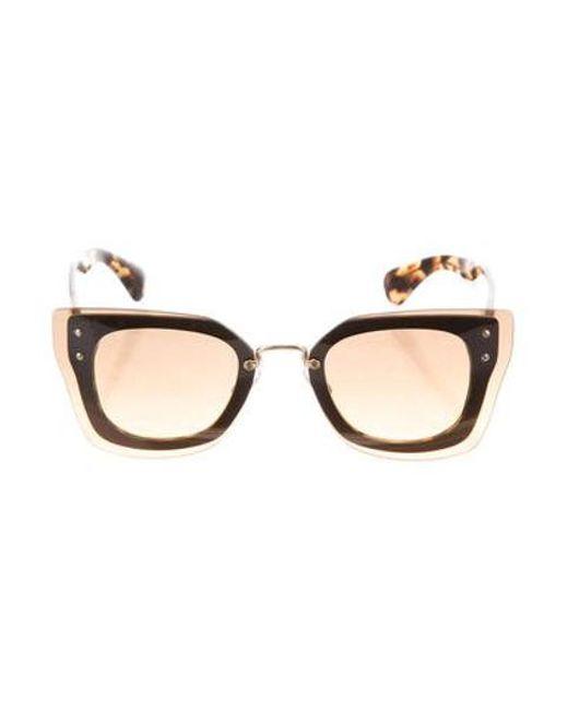 f49b7f0230b Miu Miu - Metallic Miu Butterfly Gradient Sunglasses Brown - Lyst ...