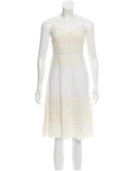 de1e5602ada Tory Burch - White Sleeveless Embroidered Dress - Lyst ...