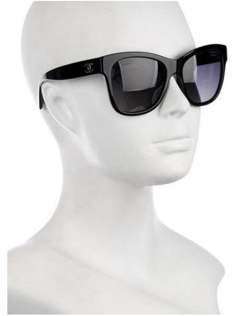 2208b35fc5e ... Chanel - Metallic Polarized Cc Sunglasses Black - Lyst