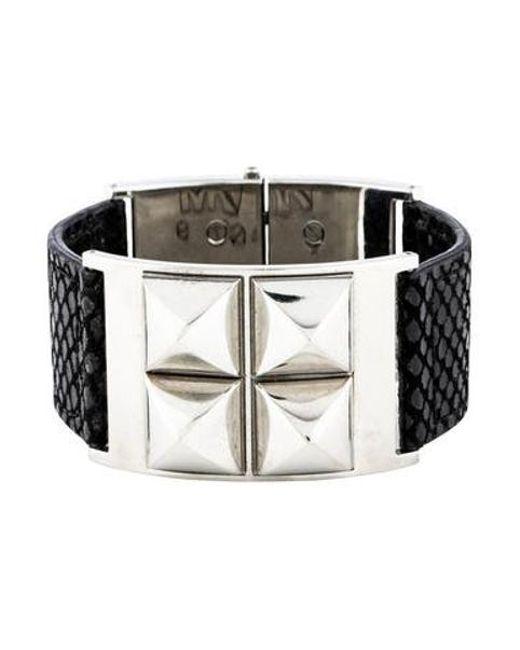 Michael Kors - Metallic Embossed Leather Stud Bracelet Silver - Lyst