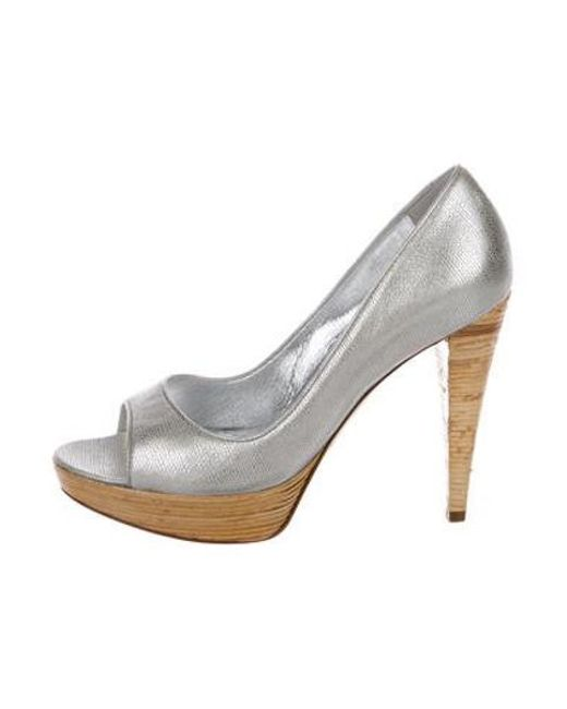 a3f0e2448c51 Sergio Rossi - Metallic Peep-toe Flats Silver - Lyst ...