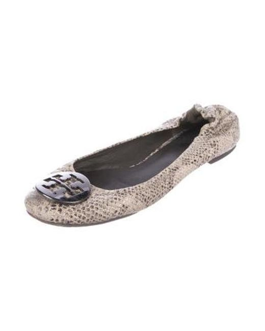 d312ae9aef57 ... Tory Burch - Natural Reva Embossed Flats Beige - Lyst ...