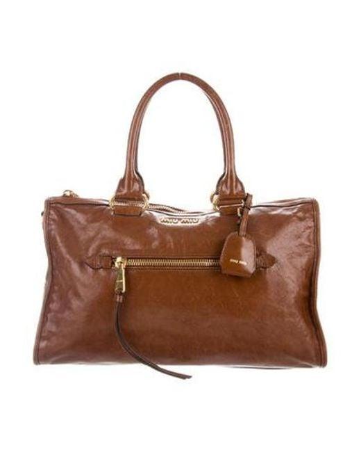 0d1b7a0c5011 Miu Miu - Metallic Miu Leather Satchel Bag Brown - Lyst ...