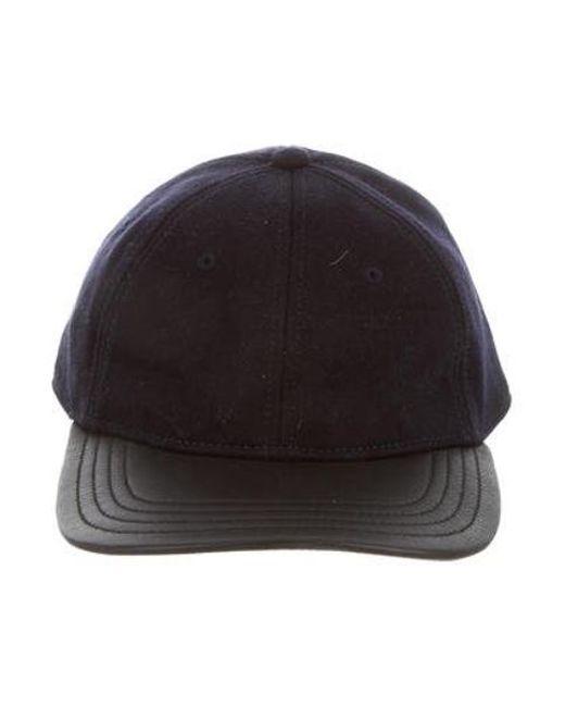0260f92642b ... Lyst Rag   Bone - Blue Leather-trimmed Flannel Cap for Men ...
