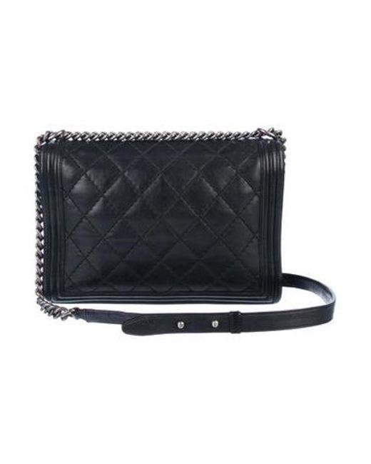 86259740f1f3 ... Chanel - Metallic Large Boy Bag Black - Lyst