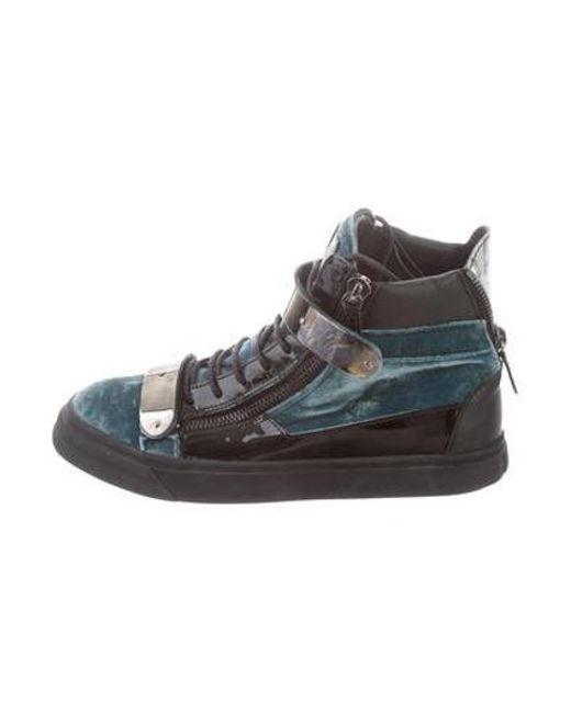 a3ef09856e6d3 Giuseppe Zanotti - Metallic Velvet High-top Sneakers Blue for Men - Lyst ...