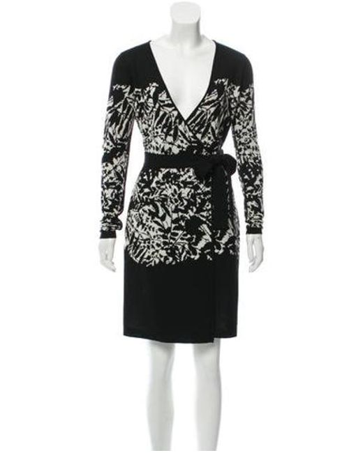 e93bbdb361e24 Diane von Furstenberg - Black Wool Knee- Length Dress - Lyst ...
