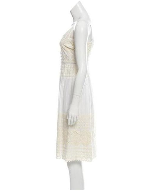 7fa543f7e1d ... Tory Burch - White Sleeveless Embroidered Dress - Lyst ...