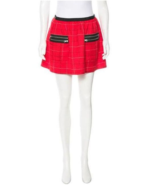 Anna Sui - Red Patterned Mini Skirt - Lyst