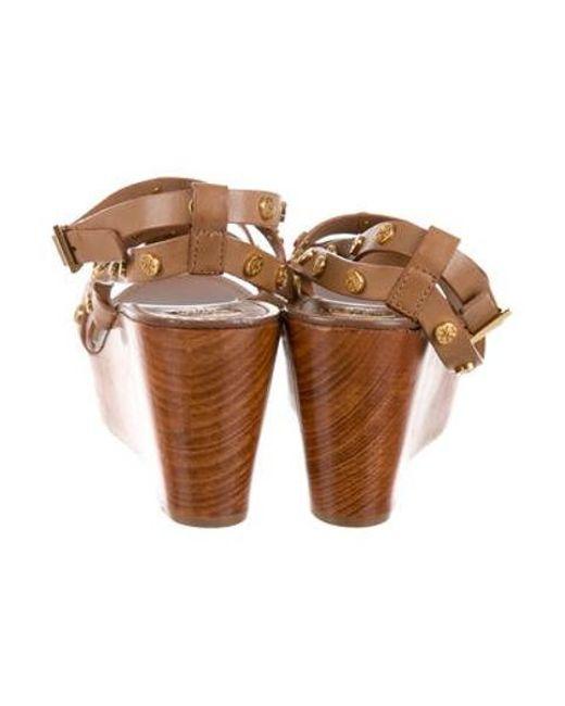 74aff6d4027 ... Tory Burch - Natural Leather Flatform Sandals Tan - Lyst