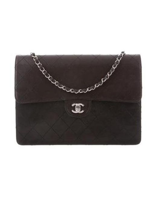 5b36bd706007 Chanel - Metallic Vintage Classic Jumbo Single Flap Bag Black - Lyst ...