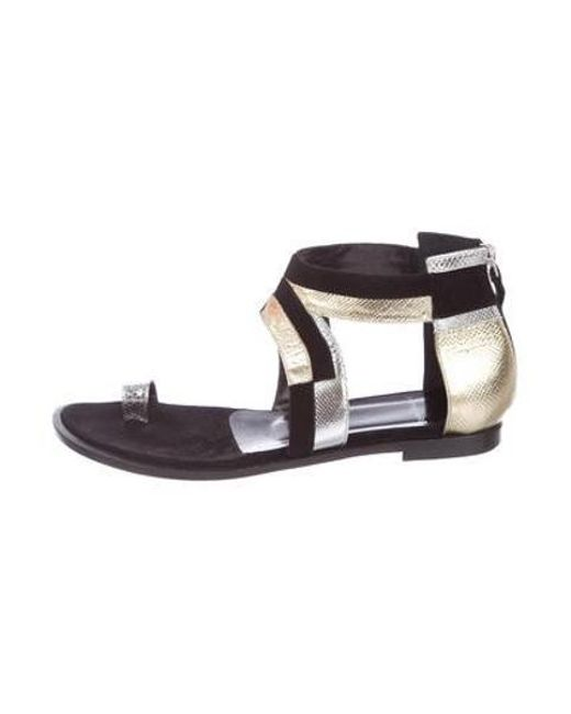 69c7c67608dad1 Pierre Hardy - Metallic Suede Round-toe Sandals Black - Lyst ...