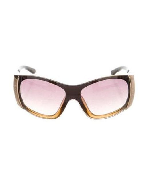 c02744ebc45 Chanel - Metallic Quilted Shield Sunglasses Brown - Lyst ...