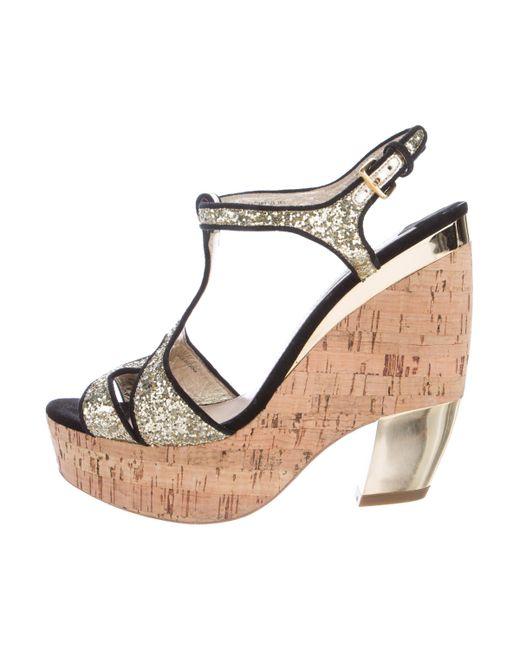 e6ce5e3e037 Miu miu Miu Glitter-embellished Platform Sandals Black in Metallic