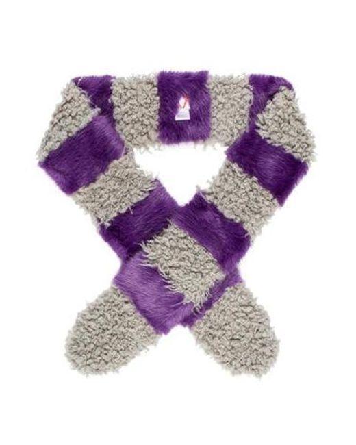 Shrimps - Gray Faux Fur Two-tone Scarf Purple - Lyst