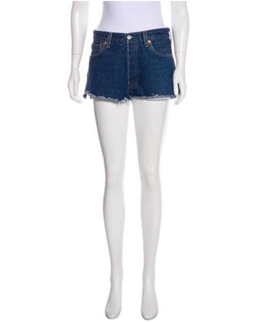 3f618d90 Re/done - Blue Mini High-rise Shorts - Lyst ...