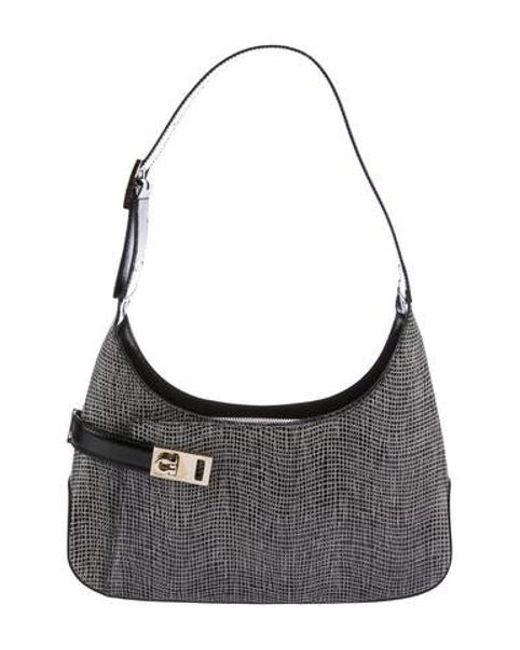 Ferragamo - Metallic Gancio Leather Shoulder Bag Black - Lyst ... 37087321ccda8