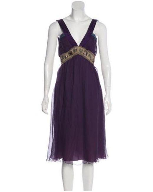 Philosophy di Alberta Ferretti - Purple Embellished Silk Dress - Lyst
