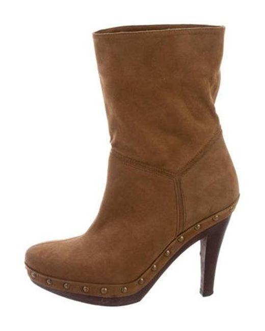 54f90fa803aa Stella McCartney - Brown Vegan Suede Platform Ankle Boots - Lyst ...