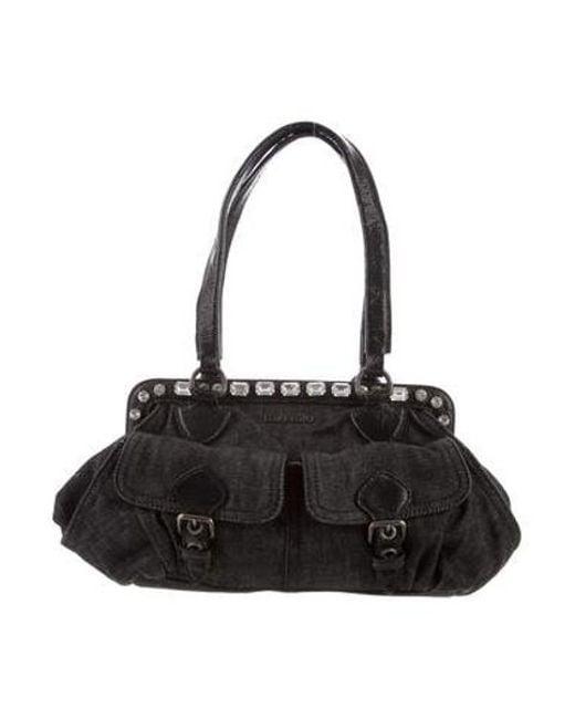 46f170c51b20 Miu Miu - Natural Miu Denim Shoulder Bag Black - Lyst ...