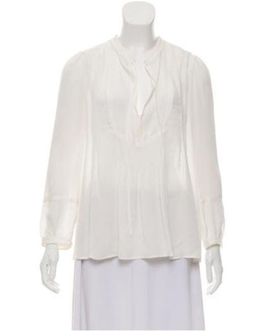 065511909dc A.L.C. - White Silk Long Sleeve Blouse W/ Tags - Lyst ...