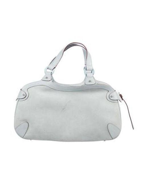 525241499fa4 ... Ferragamo - Metallic Saffiano-trimmed Suede Handle Bag Blue - Lyst ...