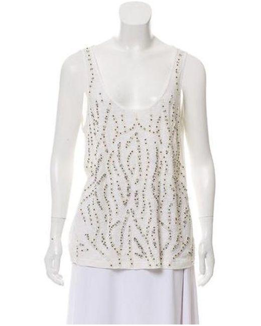 20fc7176d67af Alice + Olivia - White Sleeveless Embellished Top - Lyst ...
