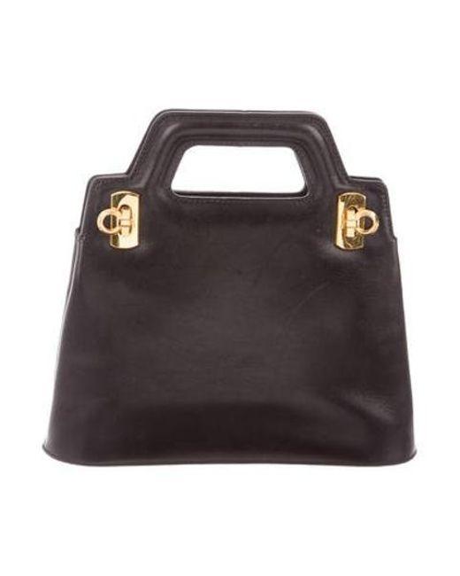 a295b207e6c4 Ferragamo - Metallic Mini Leather Shoulder Bag Black - Lyst ...