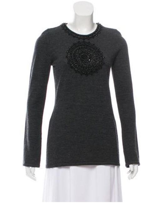 e3a8f383f8bd Tory Burch - Gray Embellished Wool Top Grey - Lyst ...