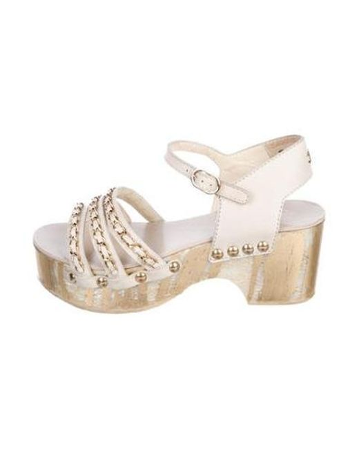 48cab002558b Chanel - Metallic Chain-link Platform Sandals Gold - Lyst ...