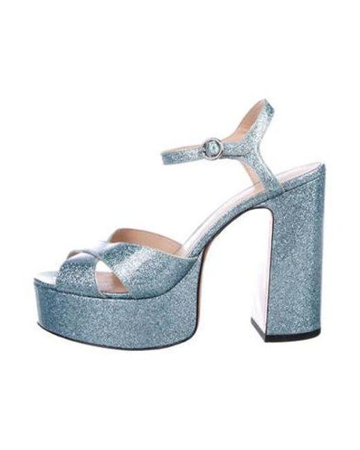 f49171ac728 Marc Jacobs - Blue Platform Glitter Sandals - Lyst ...
