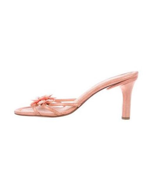 0dd05cd8fa18 Chanel - Pink Camellia Slide Sandals Coral - Lyst ...