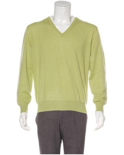 a6e80582dcaf Lyst - Loro Piana Baby Cashmere V-neck Sweater in Green for Men