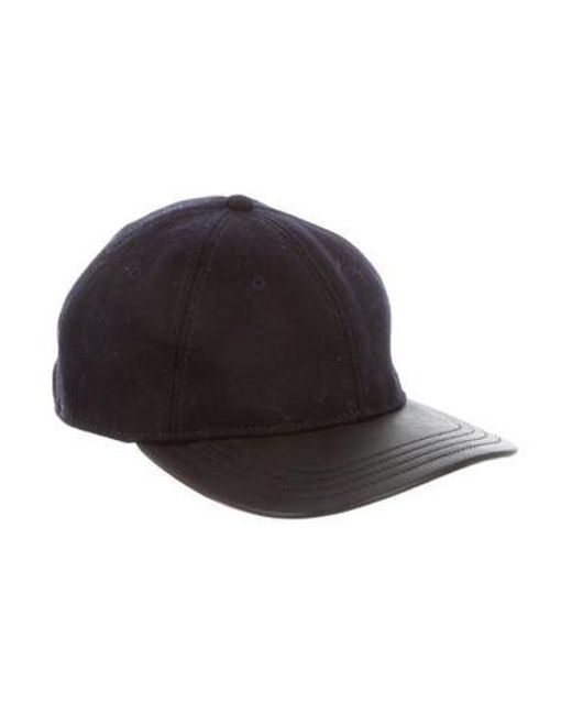 2be44f316e8 Rag   Bone - Blue Leather-trimmed Flannel Cap for Men - Lyst ...