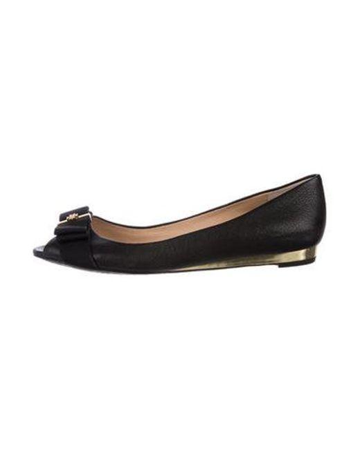 ed50d9afa48c Tory Burch - Metallic Leather Peep-toe Flats Black - Lyst ...