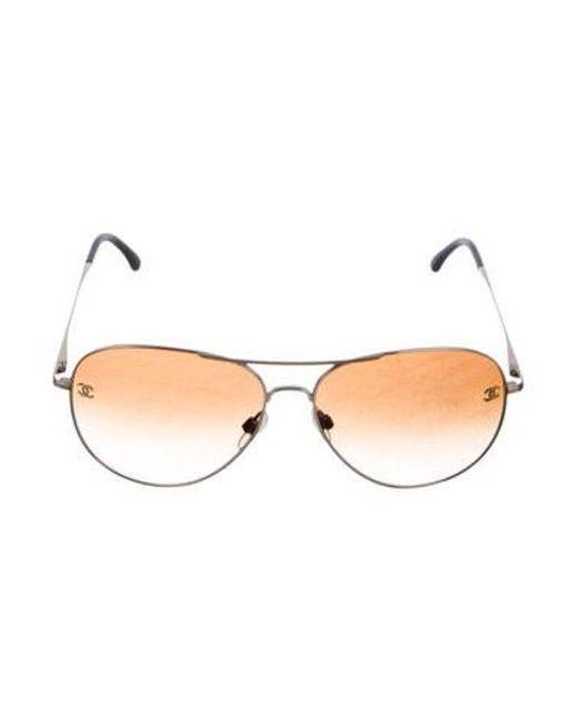 57d7000e5073 Chanel - Metallic Cc Pilot Sunglasses Gold - Lyst ...