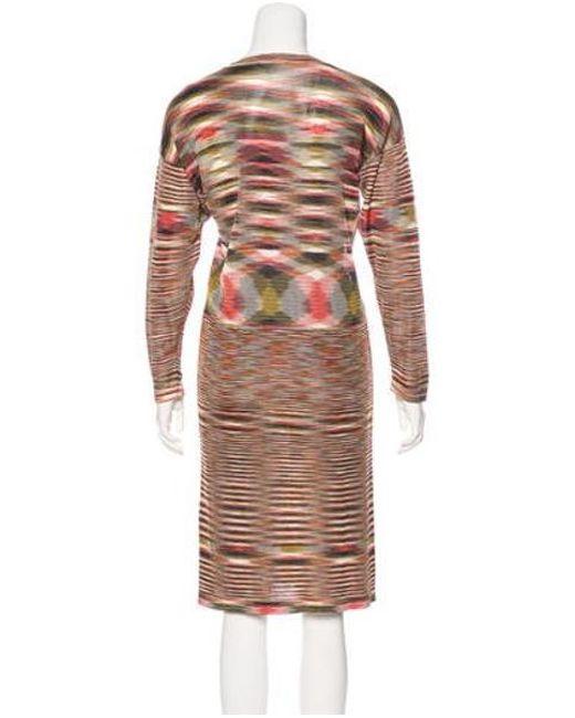 ef7fe478a2 ... Missoni - Natural Patterned Midi Dress Tan - Lyst