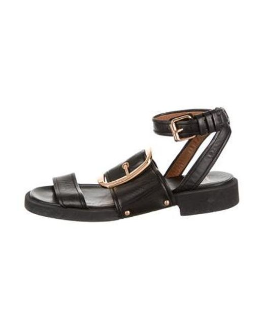 9f697739194289 Givenchy - Metallic Leather Buckle Sandals Black for Men - Lyst ...