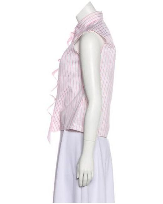 696ac6dd1d6 ... Chanel - White Striped Button-up Top - Lyst ...