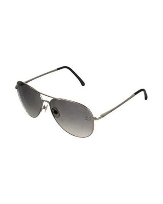 c7a501710aae ... Chanel - Metallic Cc Pilot Sunglasses Silver - Lyst ...