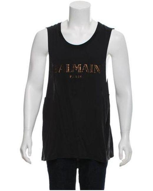 8a842ae877aed4 Balmain - Black Logo Print Crew Neck T-shirt for Men - Lyst ...