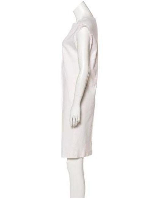 362fae045ce35 ... Brunello Cucinelli - White Bateau Neck Ruched Dress - Lyst ...